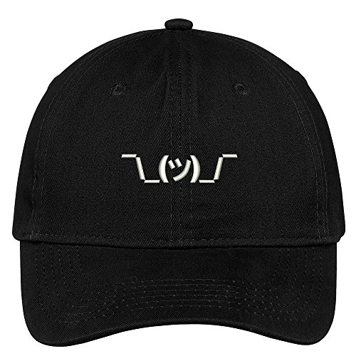 Trendy Apparel Shop Shrug Emoticon Embroidered Low Profile Soft Cotton Brushed Baseball Cap - Black ()