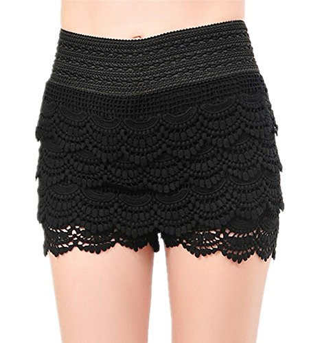 Mullsan Women's Fitted Scallop Hem Crochet Tiered Lace Sexy Shorts (X-Large, Black) (Black Lace Shorts)