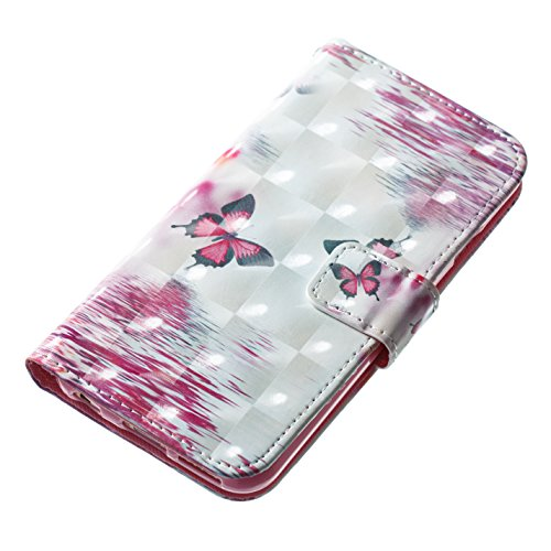 Strap Leather Case for iPhone 6S,Wallet Stand Flip Case for iPhone 6,Herzzer Bookstyle Stylish Pretty 3D Flower Flamingo Pattern Magnetic PU Leather with Soft Silicone Inner Back Case for iPhone 6/6S Color #6