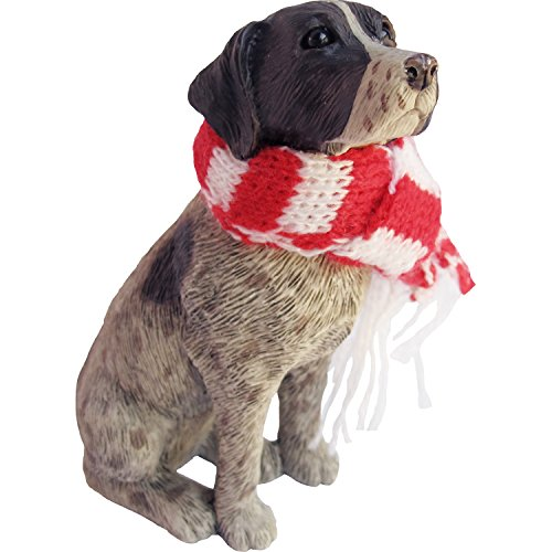 (Sandicast German Shorthaired Pointer with Red and White Scarf Christmas Ornament)