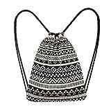 WILLTOO Women's Canvas Backpack, Fashion Ethnic Wind Messenger Bag Drawstring Pocket Crossbody School Bag (Black)