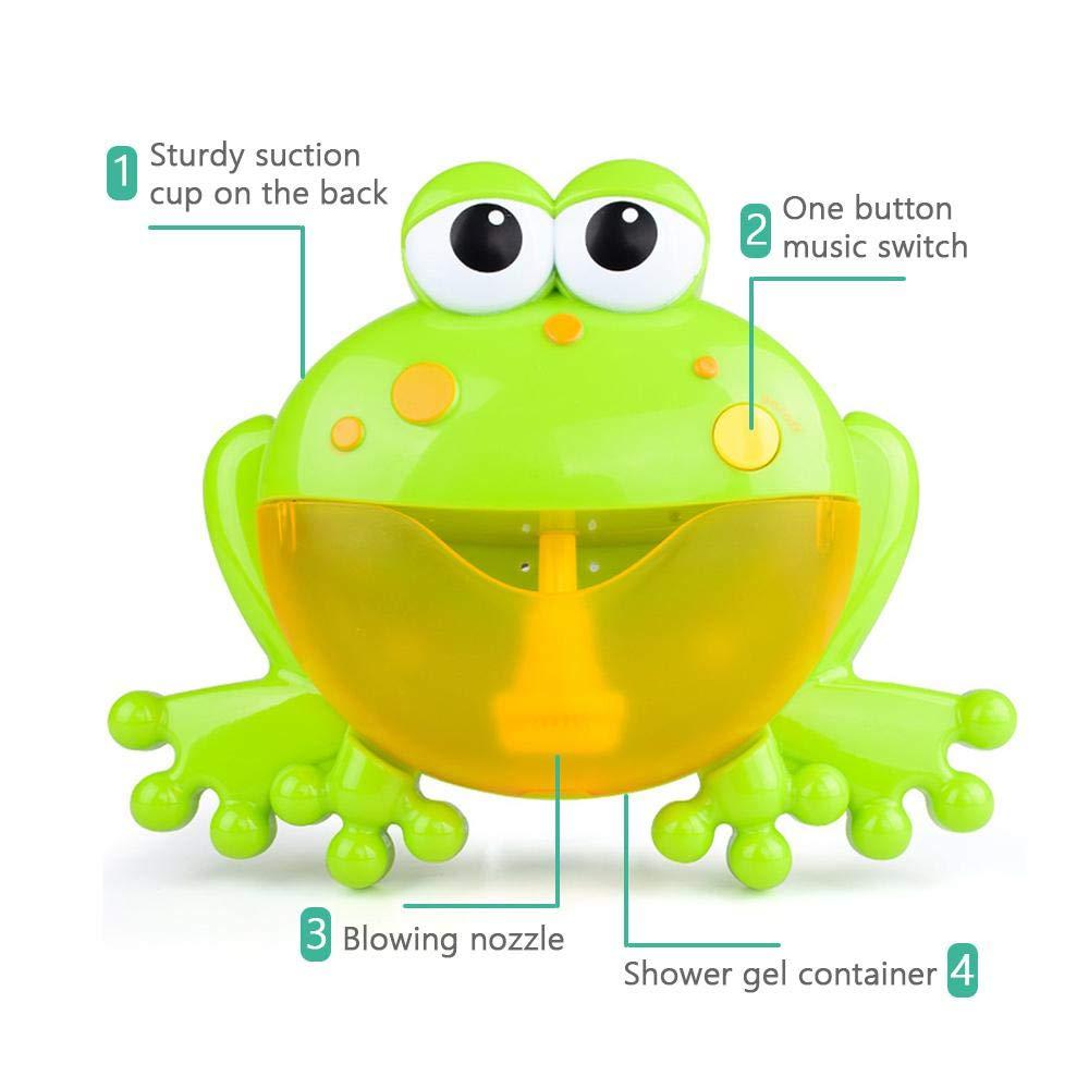 Green Teepao Baby Bath Bubble Toy Bubble Machine Tub Big Frog Automatic Bubble Maker Blower 12 Nursery Rhymes Bathtub Bubble Toys Infant Baby Children Kids Happy Tub Time