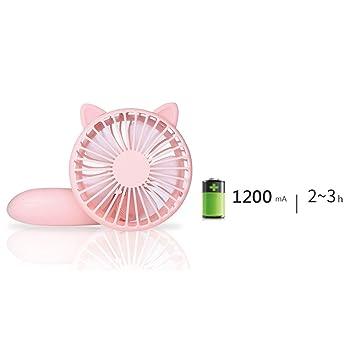 Winomo Mini-USB-Ventilator rosa tragbar wiederaufladbar Reise f/ür das B/üro zu Hause