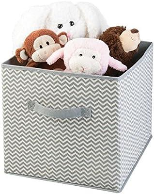 mDesign Caja para organizar juguetes - Caja de tela para artículos de bebé y niños - Organizador de tela para mantas, ropa o juguetes - gris/crema: Amazon.es: Hogar