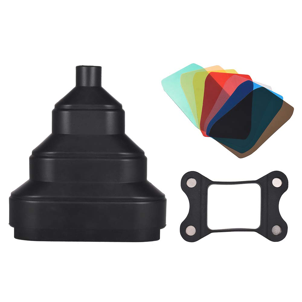 Docooler Rubber Conical Snoot with 5pcs Color Filter Kit Magnet Adsorption for Neewer Canon Nikon Yongnuo Godox Meike Vivitar Photography On-Camera Speedlite Speedlight