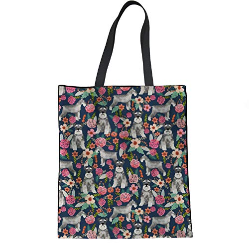 HUGS IDEA Canvas Tote Bag Shopping Handbag Cute Puppies Flower Print Eco-Friendly Reusable Grocery Bags,Schnauzer