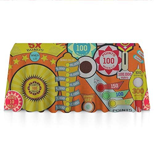 GOAEACH Cartoon Pinball Orange Rectangular Square Tablecovers Polyester Waterproof Wrinkle Free Table Cloths - Dinning Tabletop Decoration, Holidays Party BBQ Table Protectors
