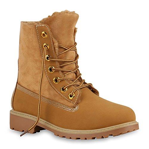 Stiefelparadies Warm Gefütterte Damen Stiefeletten Worker Boots Kunstfell Schuhe Flandell Hellbraun Camargo