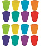 Invero® 16 Pack of Plastic Children's Kids Drinking Cups Tumblers All Finished with Bright Colours ideal for Outdoor Parties, Picnics, BBQ's, Travels and more