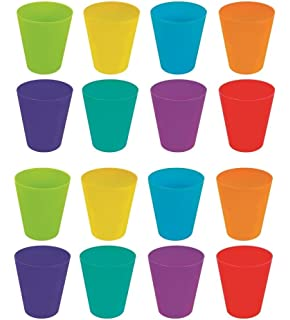 8e436cb9a66 Invero® 16 Pack of Plastic Children's Kids Drinking Cups Tumblers All  Finished with Bright Colours ideal…