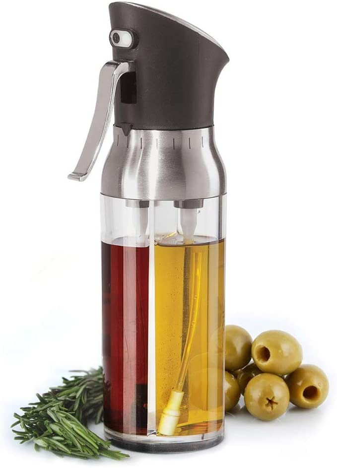 Moligh doll 2 in 1 Olive Oil Sprayer Food-Grade Acrylic Bottle Misters Vinegar Dispenser for BBQ Kitchen Seasoning Tools 200Ml