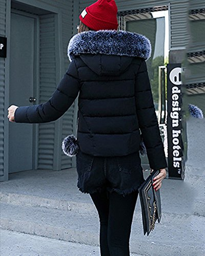 Corta Negro Capucha Invierno Manga Acolchado De Abrigo Larga Mujer Cremallera De Chaqueta Con 5axF1qwwR7