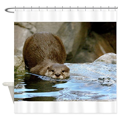 Gone Marine Fishin (CafePress - River Otter (Gone Fishin') - Decorative Fabric Shower Curtain (69
