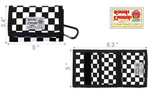 RE ROUGH ENOUGH Rough Enough Checkered Pattern Canvas Wallet Sports Travel Case Coin Purse Classic Basics Small Holder Organizer with Zippers for Kids Boy Me