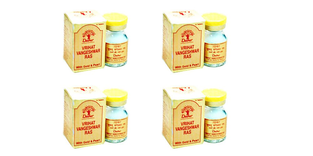 Dabur Vrihat Vangeshwar Ras (with Gold and Pearl) for Diabetes - Economy Pack 40 Tablets (4 X 10 Tabs)
