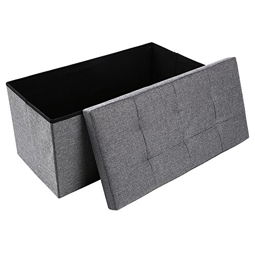 Storage Ottoman,Folding Storage Bench, Linen-like Fabric and Foldable Stool Thickening Sponge for Livingroom 29 7/8