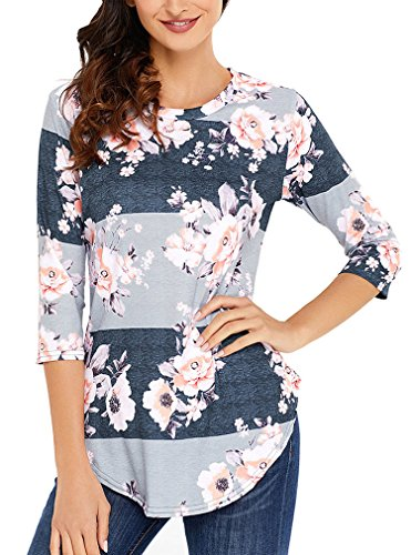 Zncmrr Womens Crew Neck 3 4 Sleeve Floral Print T Shirts Casual Striped Blouse Tops  L  Gray
