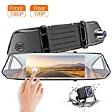 """CHICOM Mirror Dash Cam, Dashboard Camera Recorder 7"""" LCD Full HD 1080P IPS Touch Screen Dual Lens Front Rear View Car Video Recorder with G Sensor, Parking Monitor, Loop Recording (1080P)"""