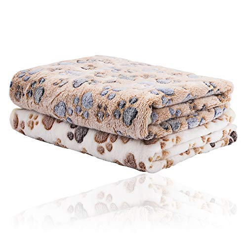2 Pack iNNEXT Puppy Blanket for Pet Cushion Small Dog Cat Bed Soft Warm Sleep Mat, Pet Dog Cat Puppy Kitten Soft Blanket Doggy Warm Bed Mat Paw Print
