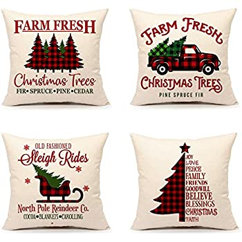 4TH Emotion Farmhouse Christmas Throw Pillow Cover Buffalo Red Black Cushion Case for Sofa Couch 18 x 18 Inches Cotton Linen Set of 4