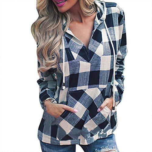 Clearance Women Tops LuluZanm Plaid Hoodie Long Sleeve Blouse Top Fashion Womens Pullover T-Shirt ()