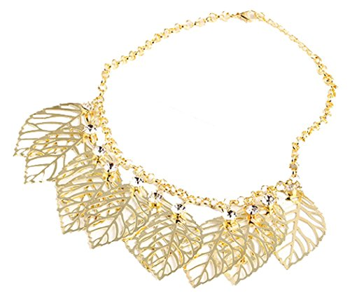 [Veenajo Women Party Jewelry Gorgeous Golden Alloy Leaf Design Collar Chain Statement Bib Necklace] (90s Era Costumes)