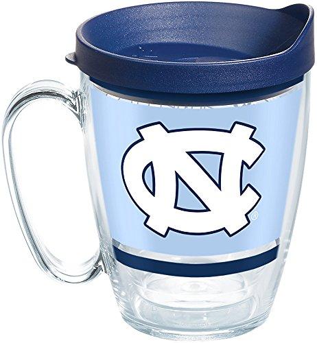 Tervis 1257605 North Carolina Tar Heels Legend Coffee Mug With Lid, 16 oz, Clear