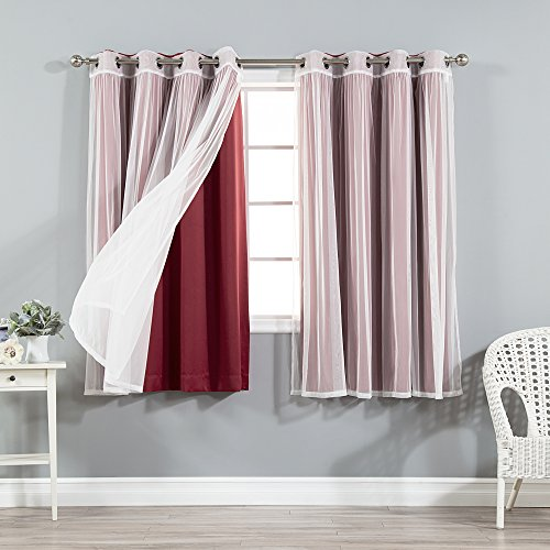 Best Home Fashion Mix & Match Tulle Sheer Lace and Blackout Curtain Set – Stainless Steel Nickel Grommet Top – Burgundy – 52