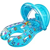 Baby Float Inflatable Infant Swim Ring, Mommy and Me Pool Float with Removable Sun Conopy for Swim Training, Ridable Safe Baby Pool Float with Drop Seat