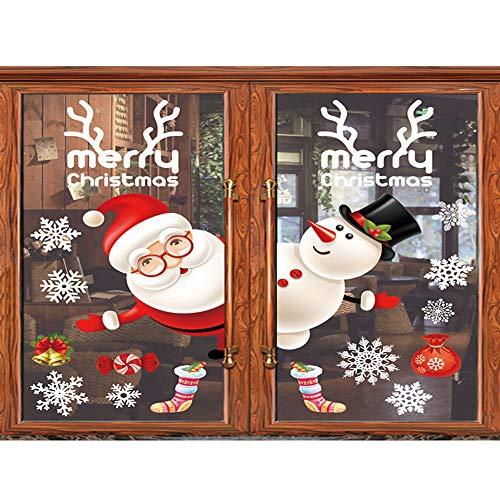 Homyu Christmas Window Decals Window Stickers for Wall Window Door Winter Wonderland Decoration?Colorful Santa and Snowman?