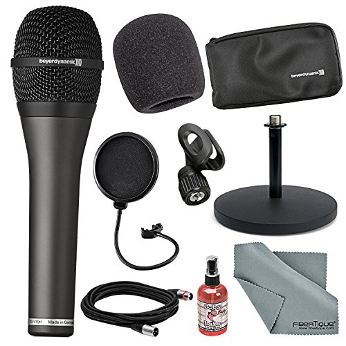 Beyerdynamic TG-V70D Professional Dynamic Hypercardioid Microphone for Vocals along with Cables, Stand, and FiberTique cloth and more (Dynamic Vocal Mic Hypercardioid)
