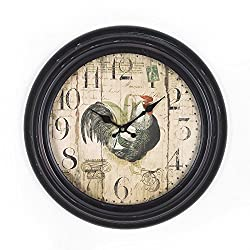 Adeco 14~15 Black and Brown Antique-Look Dial Rooster Figure Decorative Retro Vintage Traditional Wall Hanging Circle Iron Clock, Arabic Numerals Numbers, Silent Battery Quartz, Home Office Decor