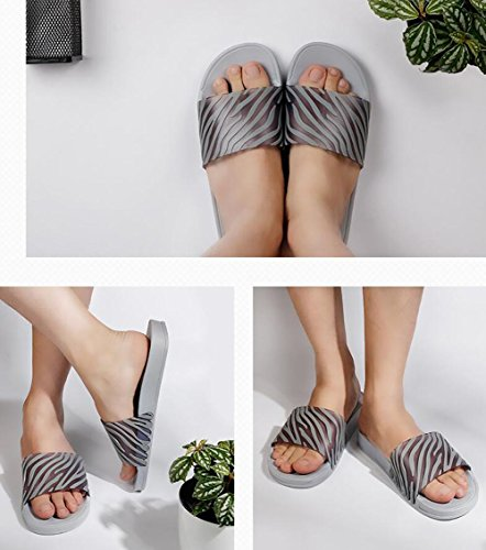 Summer new simple home slippers stripes comfortable word drag on the daily leisure cool sand couple shoes , 1 , 36