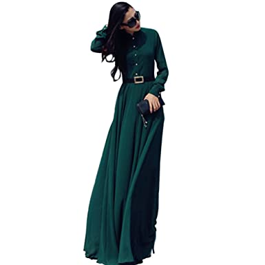 Andy\'s Share Vintage Cocktail Langarm Maxi Lang Kleid für Damen ...