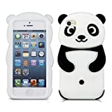 kwmobile Panda Silicone Case for Apple iPhone SE / 5 / 5S - Soft Silicone Gel Protective Cover with Cute Design