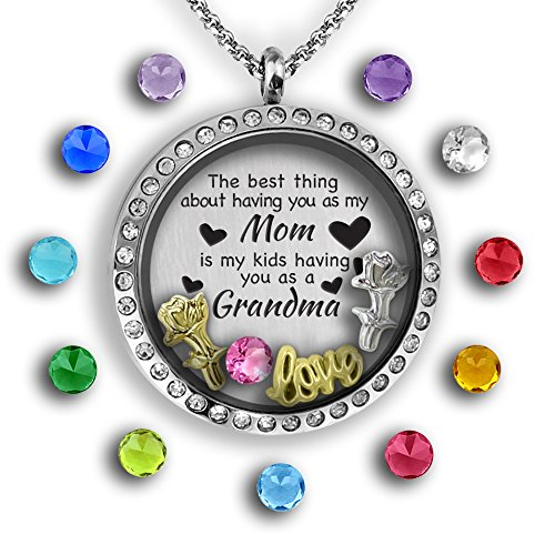 Mothers Day Gifts From Daughter | Mom Necklace Grandma Necklace | Mother Daughter Necklace For Mom | Mothers Day Gifts For Grandma | Grandma Jewelry Floating Charm Mothers Necklace | New Grandma Gifts Dazzle Gift