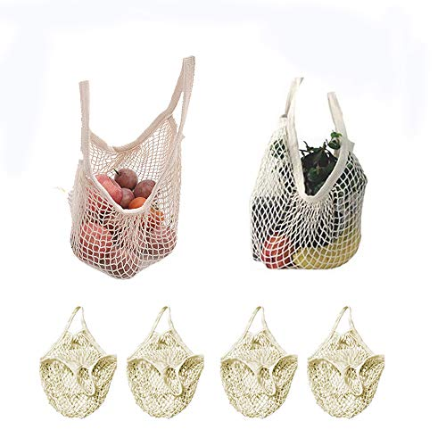 4 Pack Reusable Mesh Cotton Net Market String Bag Organizer (Multipurpose, Portable Shopping Tote Handbag), for Grocery Shopping & Outdoor Packing, Storage, Fruit, Vegetable(White) ()