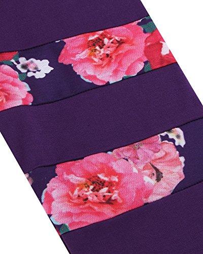 Manica Maglieria Elegante Moda Maglia StyleDome Donna Maglietta Casual Viola Nuovo Stampa Lunga gEnfSBxwq