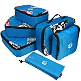 Packing cubes! 4 Ultralight and Durable Travel Bags + Laundry Bag + Complimentary Toiletry Bag. Keeps Luggage and closet organized. The #1 Packing Cube by Pura Belleza