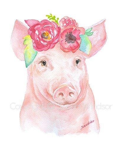Piglet Floral 2 Watercolor Print