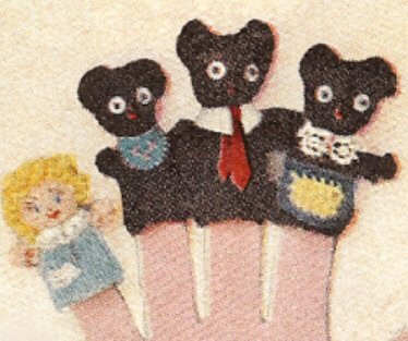 Vintage Knitting PATTERN to make - Knitted Three Bears Goldilocks Finger Puppet. NOT a finished item. This is a pattern and/or instructions to make the item only.