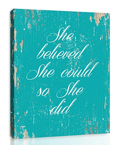 - She Believed She Could So She Did - Framed - Quote Motivational Wall Art Canvas Print Home Decor, Gallery Wrap Inner Frame, Aqua, 14x18