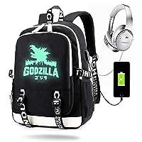 Dinosaur Monster Backpack Luminous with USB Charge Port, Travel Laptop Backpack for Girls Boys (Black)