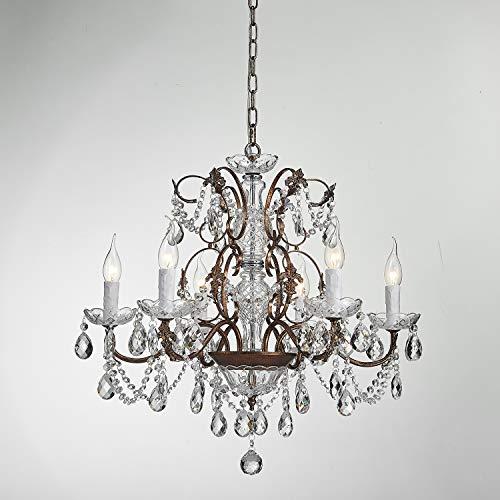 (Saint Mossi Modern K9 Crystal Raindrop Chandelier Lighting Flush Mount LED Ceiling Light Fixture Pendant Lamp for Dining Room Bathroom Bedroom Livingroom 6 E12 LED Bulbs Required Height 23 x Width 24 )