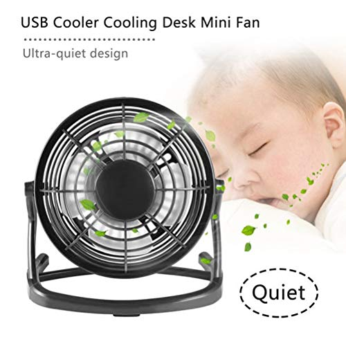 Portable USB Mini Fans Small Desk 4 Blades Cooler Cooling Fan DC 5V Operation Super Mute Silent PC Laptop Notebook