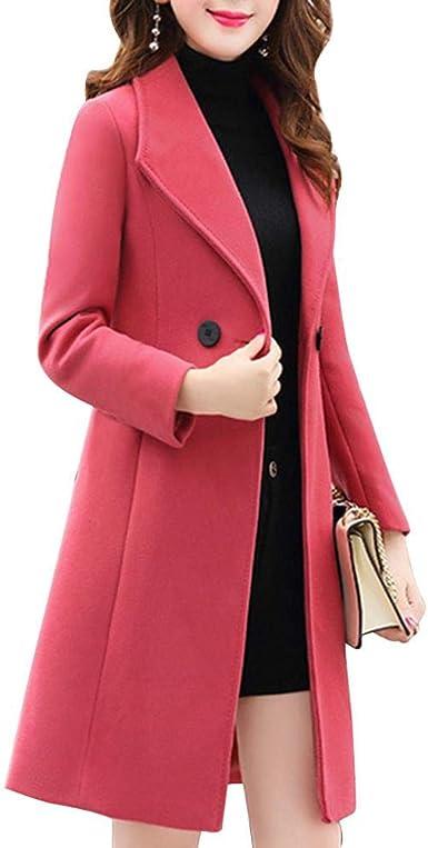Chinkyo Femmes Automne Hiver Manteau De Laine Élégant Slim Fit Outwear Veste Longue