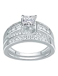 Newshe Jewellery Sterling Silver Cz Wedding Ring Sets Engagement Rings Women 1.5ct Princess Size 5-10