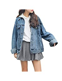 Dasior Women's Boyfriend Denim Jackets Long Sleeve Loose Jean Coats