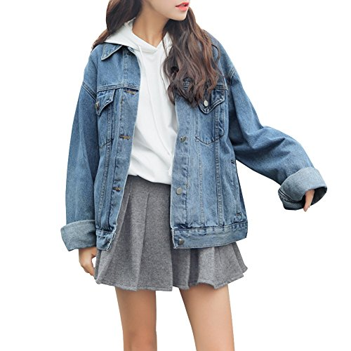 Women's Boyfriend Denim Jackets Washed Button Front Loose Jean Coat Medium Blue