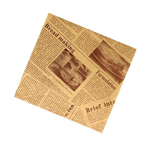 f/ür Lebensmittelkorb Seidenpapier in Lebensmittelqualit/ät Deli Mannily Sandwich; Motiv: Wickelpapier mit Zeitungsdruck 200 quadratische B/ögen 22 x 22/cm Oldnewsprint BBQ